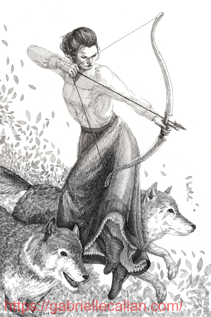 Sara Hunter,with bow and arrow.